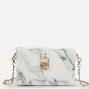 Clutch Purse White & Gray Marble Like Design